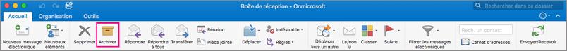 Ruban Outlook avec le bouton Archiver mis en évidence