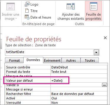 Feuille de propriétés affichant la propriété Valeur par défaut définie sur Date().