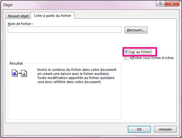 Sous l'onglet Créer à partir du fichier, sélectionnez Lier au fichier.