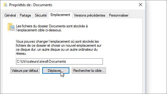 Capture d'écran montrant le menu des propriétés de Documents dans l'Explorateur de fichiers.
