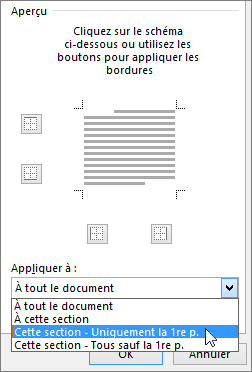 Affiche les options d'appliquer de la bordure et trame boîte de dialogue