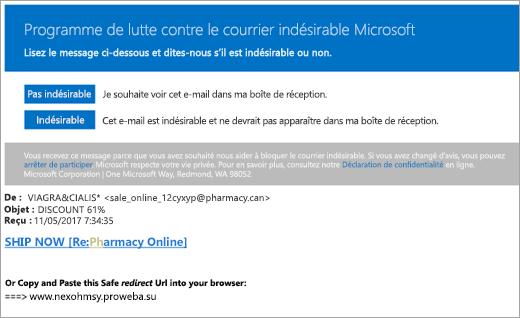 Capture d'écran d'un courrier indésirable