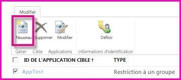 Capture d'écran de la page Centre d'administration SharePoint Online pour configurer une application cible SecureStore.