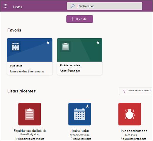 Capture d'écran de la page d'accueil des listes Microsoft