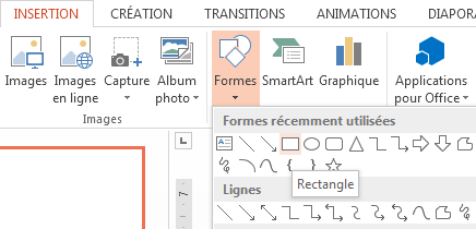 Vous pouvez sélectionner une forme, par exemple, un rectangle, dans la section Formes du groupe Illustrations.