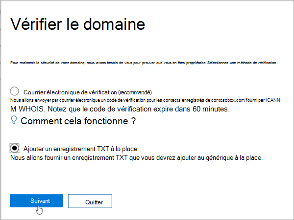 Office 365 ajouter un instead_C3_2017526172713 enregistrement TXT