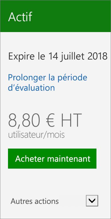 Gros plan de la carte d'abonnement affichant la date de la version d'évaluation arrivant à expiration, un lien pour prolonger la version d'évaluation et un bouton permettant d'acheter tout de suite.