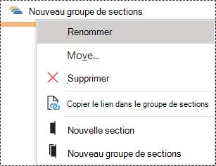 Renommer un groupe de sections dans une boîte de dialogue OneNote pour Windows