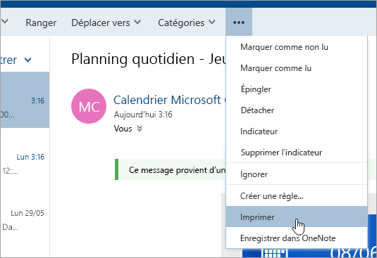 calendrier outlook imprimer