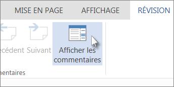 Image de la commande Afficher les commentaires sous l'onglet Commentaires dans le mode Lecture de Word Web App