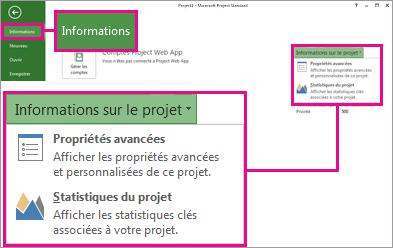 Menu Informations sur le projet avec Propriétés avancées en surbrillance