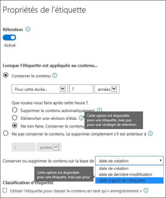 Paramètres de rétention avec des options spécifiques aux étiquettes
