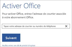 Affiche la boîte de dialogue Activer via laquelle vous pouvez vous connecter pour activer Office