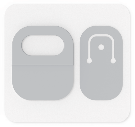 Carte avec les ouvertures de cordon du kit Adaptatif pour Surface.