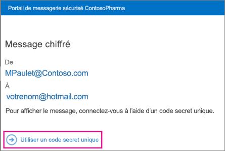 Une fois code secret