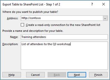 Boîte de dialogue de l'Assistant d'exportation vers SharePoint