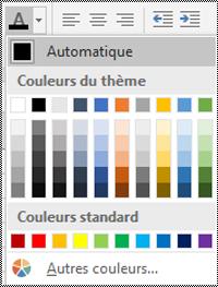 Menu Couleur de police dans Excel pour Windows Desktop.