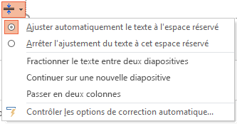 Menu des options ajustement automatique