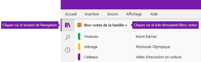 Développer la liste des blocs-notes dans OneNote pour Windows 10