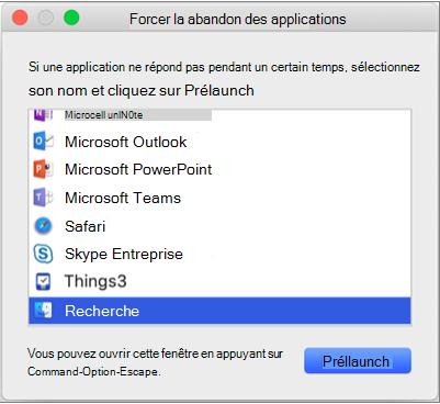 Affiche « Finder » sélectionné dans la fenêtre Forcer à quitter l'application.