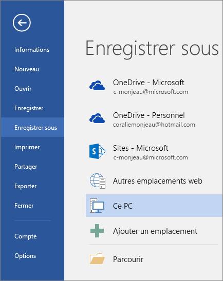 Les options Enregistrer sous apparaissent après avoir cliqué sur Ce PC.
