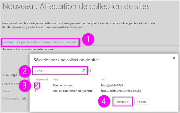 Choisissez une page de collection de sites