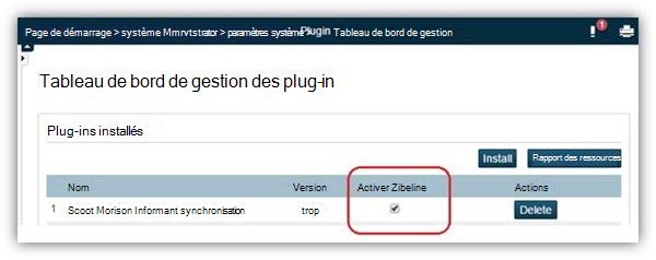 Sur la page Tableau de bord de gestion des plug-ins, vérifiez que le plug-in est activé.