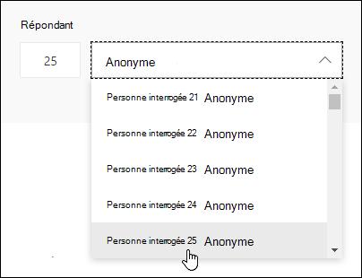 Entrer un numéro spécifique dans la zone de recherche du défendeur pour afficher les détails de la réponse d'une personne dans Microsoft Forms
