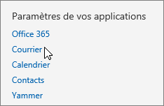 Capture d'écran de la section « Paramètres de votre application » des Paramètres d'Outlook Web App, avec le curseur pointant sur l'option Courrier.