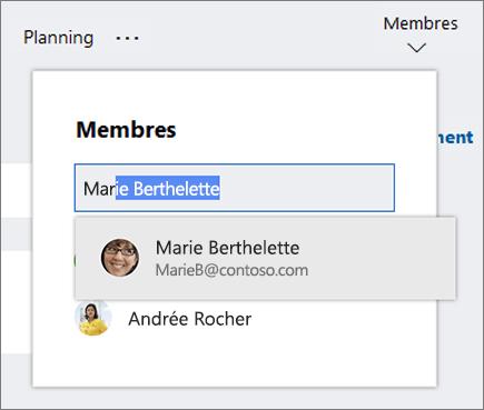 Liste des membres lors de la saisie du nom d'un nouveau membre du plan