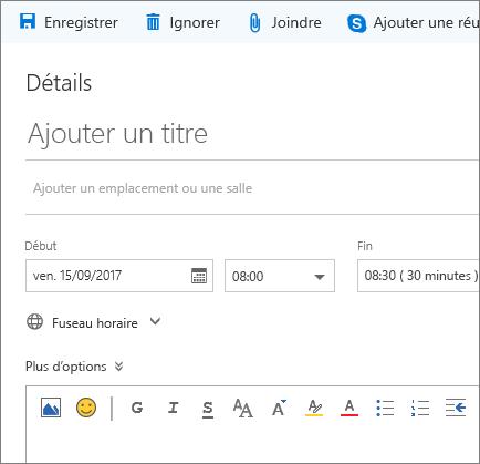 Capture d'écran du volet Nouvel événement de calendrier.