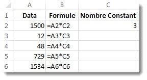 Données dans la colonneA, formules dans la colonneB et le chiffre3 dans la celluleC2