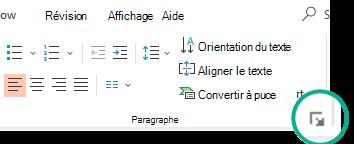 Ouvrez la boîte de dialogue paragraphe en cliquant sur la flèche située dans le coin inférieur droit du groupe paragraphe sous l'onglet Accueil du ruban.