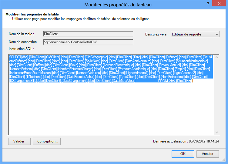 Requête SQL utilisée pour récupérer les données