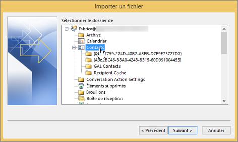 Lorsque vous importez des contacts Google Gmail dans votre boîte aux lettres Office365, sélectionnez la destination Contacts