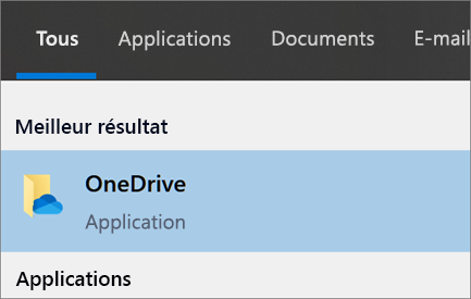 Capture d'écran de la recherche de l'application de bureau OneDrive dans Windows 10