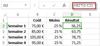 Résultats de pourcentage dans la colonne D
