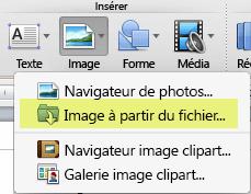 Sous l'onglet Accueil du ruban, sous Insérer, cliquez sur Image > Image à partir d'un fichier.