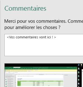Commentaires dans la boîte de dialogue Excel