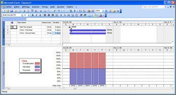 Affichage Microsoft Project montrant Chris débordé
