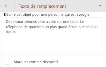 Boîte de dialogue texte de remplacement d'une image dans PowerPoint pour Android.