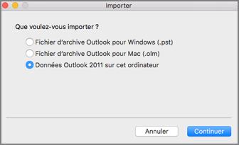 Écran d'importation avec des données Outlook2011 de cet ordinateur sélectionnées