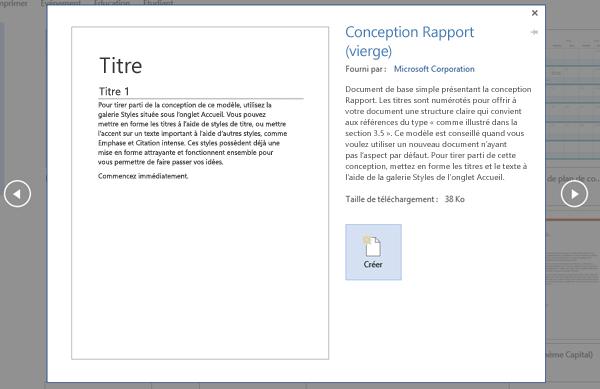Aperçu du modèle Conception Rapport dans Word2016.