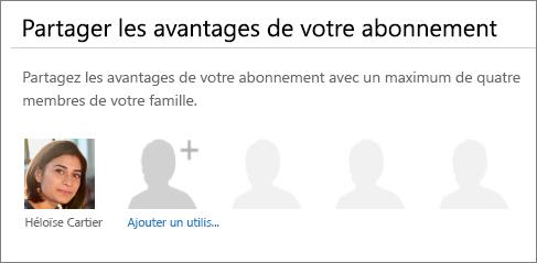 Capture d'écran de la section «Partager les avantages de votre abonnement» de la page Partager Office365 montrant le lien «Ajouter un utilisateur».