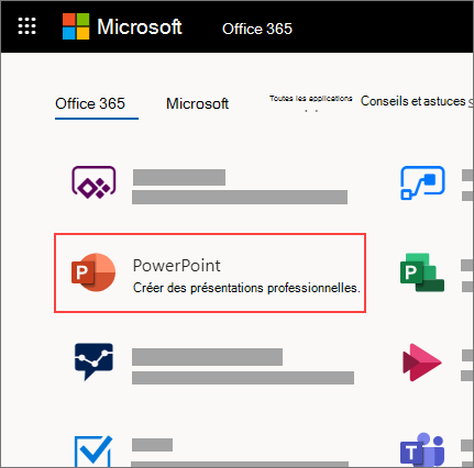 Page d'accueil d'Office365 avec application PowerPoint en surbrillance