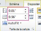 Définir la hauteur et la largeur d'une cellule de tableau