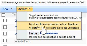 Modifier permissioins utilisateur dans le menu d'Action