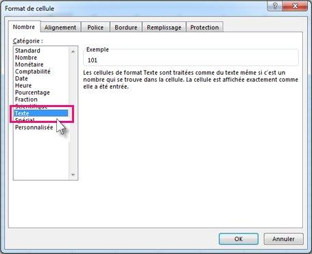 Enregistrer en tant que texte dans la boîte de dialogue Format de cellule