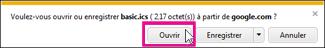 Calendrier Google - ouvrir le calendrier depuis Internet Explorer