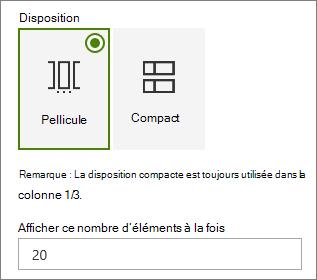 Sélection de la disposition dans le volet de propriétés du composant WebPart événements.